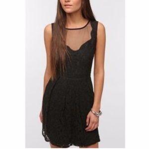 Pins & Needles UO Black Lace Sheer-Back Dress
